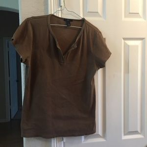 GAP BROWN SHORT SLEEVE PULLOVER TOP XL